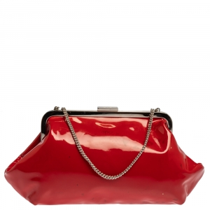 Dolce & Gabbana Red Patent Leather Chain Frame Clutch