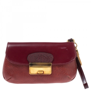 Dolce & Gabbana Burgundy Leather Wristlet Clutch