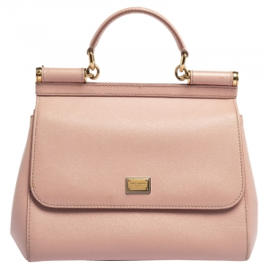 Dolce & Gabbana Pink Leather Medium Miss Sicily Top Handle Bag