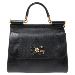 Dolce & Gabbana Black Lizard Embossed Leather Crystal DG Logo Medium Miss Sicily Bag