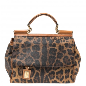 Dolce & Gabbana Brown Leopard Print Coated Canvas and Leather Large Miss Sicily Top Handle Bag