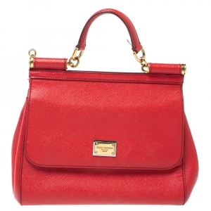 Dolce & Gabbana Red Leather Medium Miss Sicily Top Handle Bag