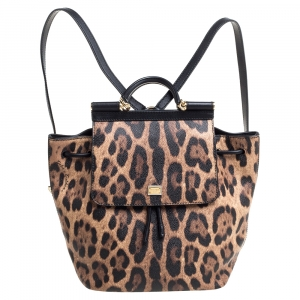 Dolce & Gabbana Black/Brown Leopard Print Coated Canvas and Leather Miss Sicily Backpack