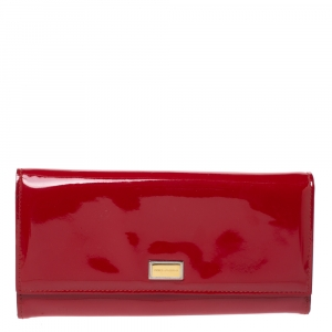 Dolce & Gabbana Red Patent Leather Dauphine Continental Wallet