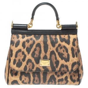 Dolce & Gabbana Beige/Black Coated and Leather Medium Miss Sicily Top Handle Bag