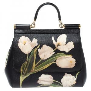 Dolce & Gabbana Black Floral Print Leather Medium Sicily Top Handle Bag