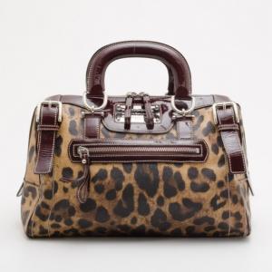 Dolce and Gabanna Leopard Satin 'Miss Easy Way' Mini Boston Bag