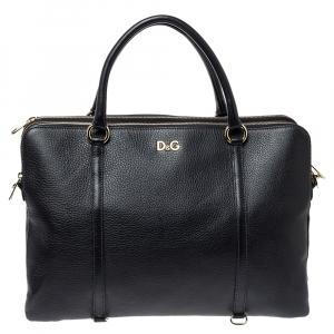 Dolce & Gabbana Black Leather Lily Twist Satchel