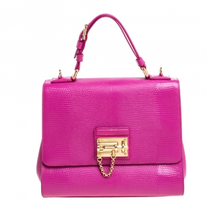Dolce & Gabbana Pink Lizard Embossed Leather Medium Miss Monica Top Handle Bag