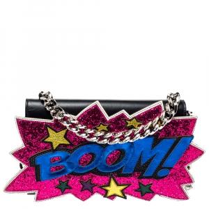 Dolce & Gabbana Black Leather Boom Patch Flap Shoulder Bag
