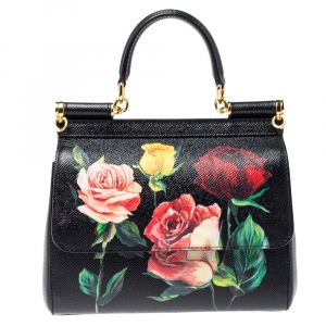 Dolce & Gabbana Black Rose Print Dauphine Leather Small Miss Sicily Top Handle Bag