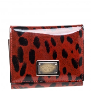 Dolce & Gabbana Red Leopard Print Patent Leather Trifold Wallet
