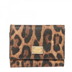 Dolce & Gabbana Brown Leopard Print Coated Canvas Trifold Compact Wallet