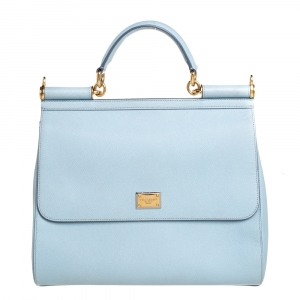 Dolce & Gabbana Powder Blue Leather Large Sicily Top Handle Bag