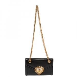 Dolce & Gabbana Black Leather Mini Devotion Shoulder Bag