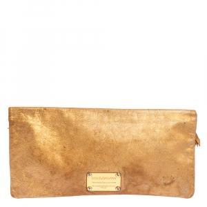 Dolce & Gabbana Gold Leather Bifold Clutch
