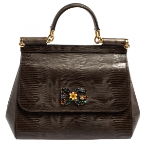 Dolce & Gabbana Grey Lizard Embossed Leather Medium Miss Sicily Bag