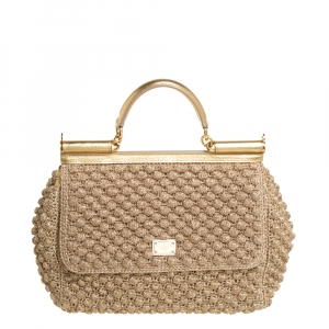 Dolce & Gabbana Gold Woven Raffia and Leather Large Miss Sicily Top Handle Bag