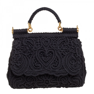 Dolce & Gabbana Black Fabric Medium Sicily Cordonetto Top Handle Bag