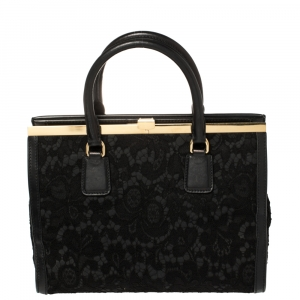 Dolce & Gabbana Black Lace and Leather Frame Tote