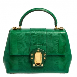 Dolce & Gabbana Green Lizard Embossed Leather Small Lucia Top Handle Bag