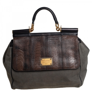Dolce & Gabbana Grey/Black Denim and Ostrich Leg Leather Large Miss Sicily Top Handle Bag