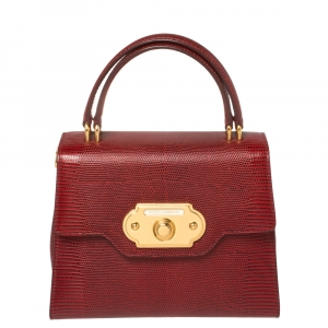 Dolce & Gabbana Red Lizard Embossed Leather Welcome Top Handle Bag
