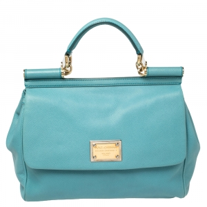 Dolce & Gabbana Blue Leather Large Miss Sicily Top Handle Bag