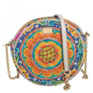 حقيبة كتف دولتشي أند غابانا ميس غلام مستديرة قماش مبطن طباعة متعددة الألوان