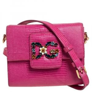 Dolce & Gabbana Pink Lizard Embossed Leather DG Millennials Crossbody Bag