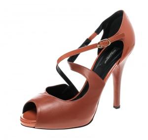 Dolce & Gabbana Orange Leather Peep Toe Strappy Sandals Size 40 - used