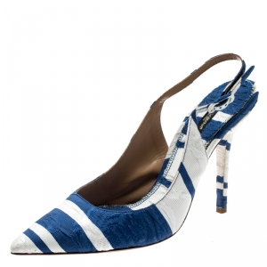 Dolce & Gabbana Blue and White Stripe Brocade Fabric Pointed Toe Slingback Sandals Size 40 - used
