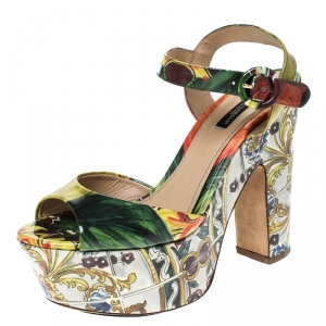 Dolce & Gabbana Multicolor Printed Patent Leather Platform Sandals Size 37.5 - used