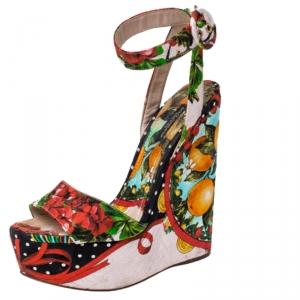 Dolce & Gabbana Multicolor Floral Printed Fabric Foulard Platform Wedge Sandals Size 38 - used