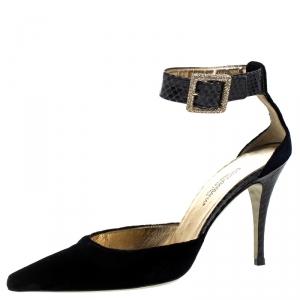 Dolce & Gabbana Blue Velvet And Python Ankle Strap Sandals Size 36 - used