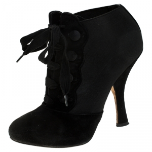 Dolce & Gabanna Black Velvet and Elastic Band Lace Up Booties Size 37 - used