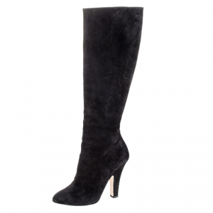 Dolce & Gabbana Black Suede Knee Length Boots Size 39 - used