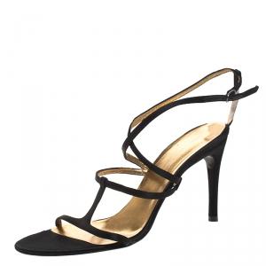 Dolce & Gabbana Black Satin Strappy Sandals Size 37
