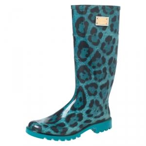 Dolce & Gabbana Teal/Black Leopard Print PVC Knee High Rain Boots Size 36 - used
