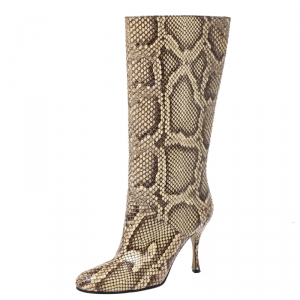 Dolce & Gabbana Multicolor Python Leather Mid Calf Slip On Boots Size 35 - used