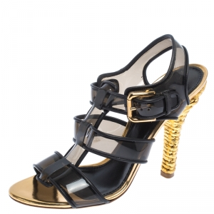 Dolce & Gabbana Black PVC And Leather Strappy Woven Detail Heel Sandals Size 40 - used