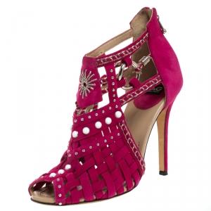 Dolce & Gabbana Pink Suede Leather Embellished Caged Sandals Size 39