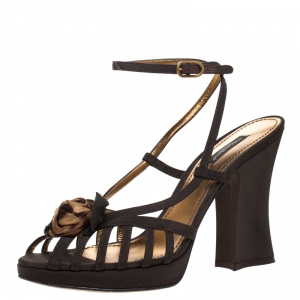 Dolce & Gabbana Olive Green Nylon Fabric Flower Detail Strappy Sandals Size 39.5 - used