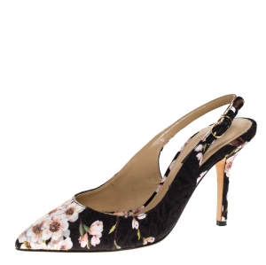 Dolce & Gabbana Multicolor Floral Print Brocade Slingback Pointed Toe Sandals Size 35 - used