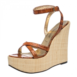Dolce & Gabbana Tan/Beige Leather Strappy Wedge Sandals Size 39 - used