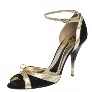 Dolce & Gabbana Black/Gold Satin And Leather Embellished Bow Ankle Strap Sandals Size 38 - used