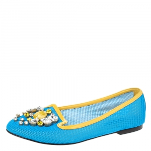 Dolce & Gabbana Blue/Yellow Woven Leather And Patent Trim Crystal Embellished Ballet Flats Size 37 - used
