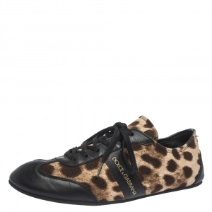 Dolce & Gabbana Brown Leopard Print Canvas And Black Leather Lace Up Sneakers Size 38 - used