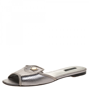 Dolce & Gabbana Metallic Grey Lizard Embossed Leather Sofia Slides Size 39 - used