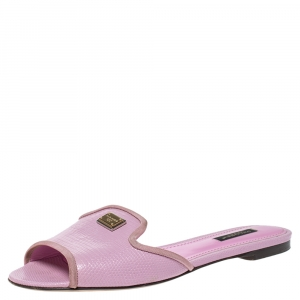 Dolce & Gabbana Pink Lizard Embossed Leather Sofia Slides Size 38.5 - used